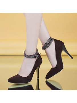 Pointed Toe Rhinestone Ankle Strap Pumps