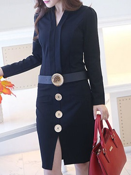 V Neck Long Sleeve Belt Day Dress