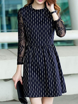 Chic Round Neck Slim Day Dress