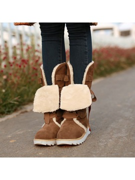 Suede Round Toe Lace Up Snow Boots
