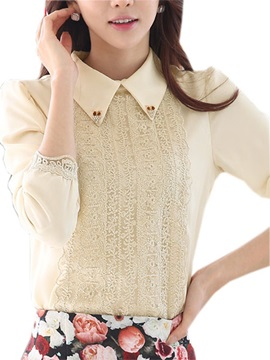 Chic Lace Decoration Slim Shirt