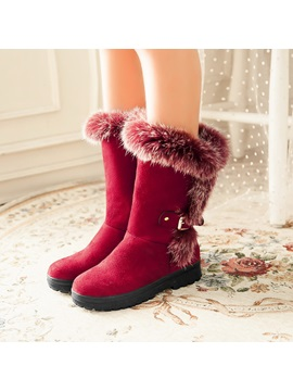 Purfle Suede Slip On Snow Boots