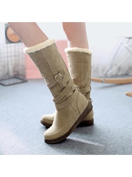 Suede Buckles Slip On Knee High Boots