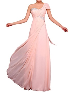 Empire Waist One Shoulder Beading Chiffon Long Bridesmaid Dress