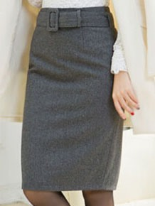 Plain Belt Knee Length Skirt