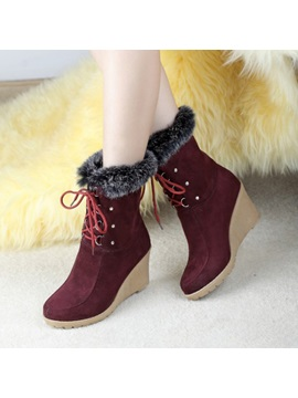 Suede Round Toe Lace Up Wedge Boots