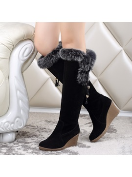 Purfle Suede Knee High Wedge Boots