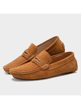 Solid Color Suede Slip On Loafers