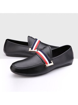 Striped Low Cut Slip On Loafers