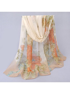 Blooming Flower Printed Womens Chiffon Scarf