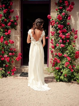 Backless V Neck Beading Lace A Line Beach Wedding Dress