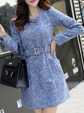 Plain Long Sleeve Belt Day Dress