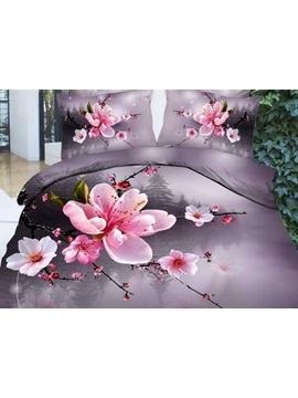High Quality Beautiful Pink Plum Blossoms Print Bedding Setss