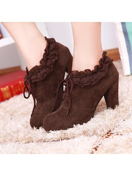 Suede Round Toe Deco Lace Booties