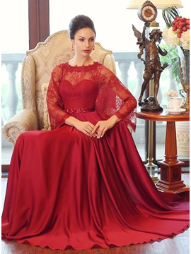 Graceful A Line Long Sleeve Lace Beaded Long Evening Dress