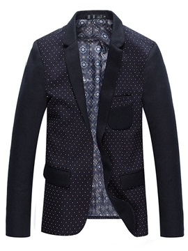 Mens Patchwork Lapel Major Polka Dots Blazers