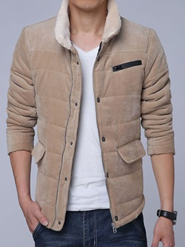 Mens Zipper Corduroy Sherpa Collar Cotton Coats