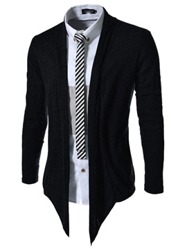 Mens Solid Color Long Pattern Cardigan Knit Wear