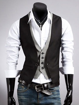 Mens Buttons Patchwork Double Layer Vests