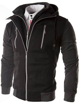 Mens Double Layer Hoodies With Zips Decorated