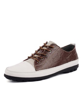Color Block Pu Patchwork Lace Up Mens Shoes