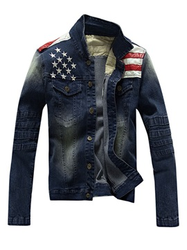 Mens Gradient Denim Long Sleeve Jackets