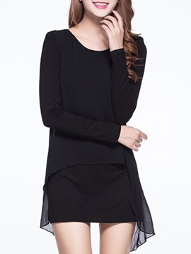 Asymmetric Round Neck Sleeve Day Dress
