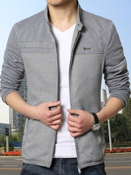 Mens Color Block Stand Collar Slim Fit Jackets