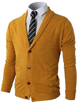 Mens Solid Color Special Soft Neck Cardigan