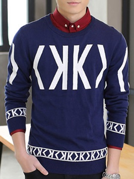 Mens Letter Printed Round Neck Sweater