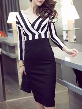 Stripe V Empire Waist Bodycon Dress