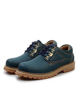 Solid Color Thread Lace Up Mens Boots