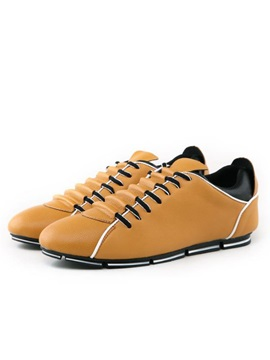 Color Block Round Toe Lace Up Mens Sneakers