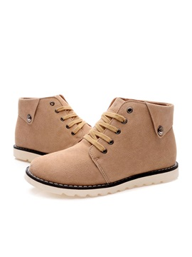 Suede Round Toe Lace Up Mens Boots