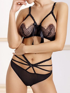Hollow Solid Bra Set For Women