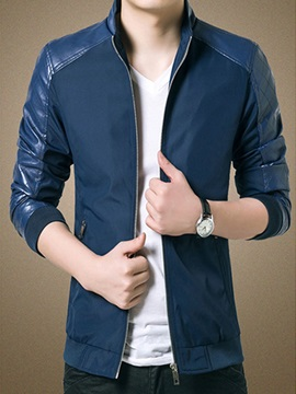 Mens Zip Stand Collar Pu Jackets