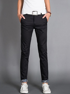 Mens Solid Color Washed Contrast Trim Casual Pants