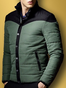 Mens Color Block Stand Collar Cotton Parka