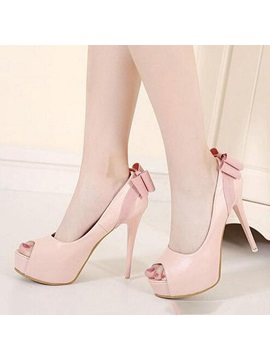 Bowtie Peep Toe Stiletto Heel Pumps