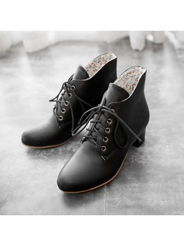 Solid Color Lace Up Front Chunky Heel Booties