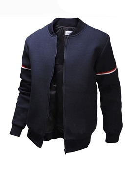 Mens Stripe Sleeves Stand Collar Jackets