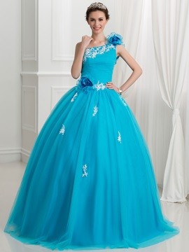 Dramatic One Shoulder Flowers Appliques Ball Gown Quinceanera Dress