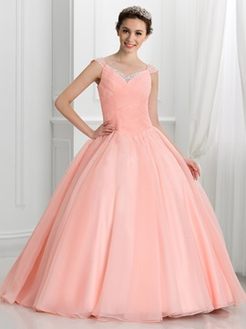 V Neck Beading Pleats Lace Up Ball Gown Quinceanera Dress