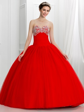 Pretty Sweetheart Beading Ball Gown Red Quinceanera Dress