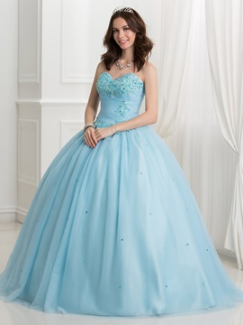 Super Sweetheart Appliques Beading Ball Gown Quinceanera Dress