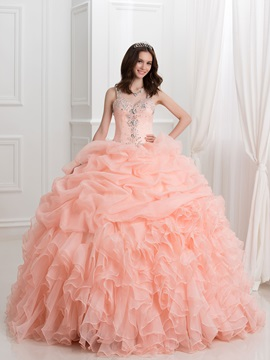 Dramatic Straps Beading Pick Ups Ball Gown Quinceanera Dress