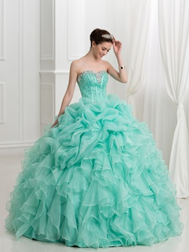Glamorous Sweetheart Beading Pick Ups Ball Gown Quinceanera Dress
