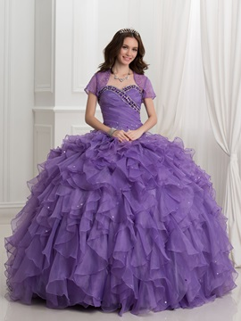 Vintage Beading Cascading Ruffles Ball Gown Quinceanera Dress With Jacket Shawl