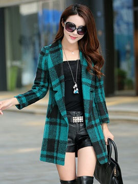 Plaid Slim Trench Coat
