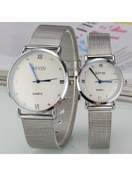 Roman Numerals Decorated Round Dial Lovers Watches Price For A Pair